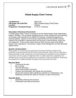 Global Supply Chain Trainee