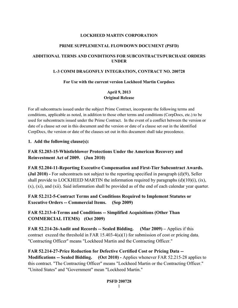 LOCKHEED MARTIN CORPORATION PRIME SUPPLEMENTAL FLOWDOWN
