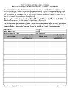 Outdoor Environmental Education Financial Assistance Request Form
