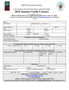 2016 Summer Youth Connect Application MMYC Internship Program