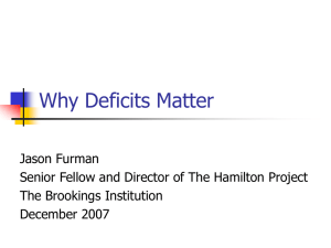 Why Deficits Matter Jason Furman The Brookings Institution