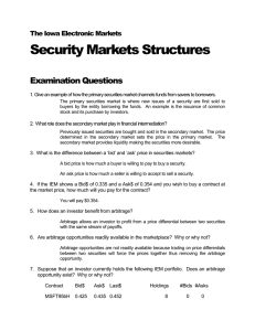 Security Markets Structures Examination Questions  The Iowa Electronic Markets
