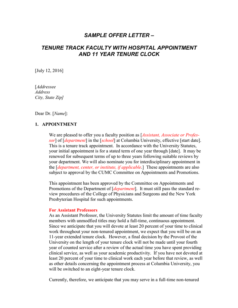 SAMPLE OFFER LETTER TENURE TRACK FACULTY WITH HOSPITAL APPOINTMENT
