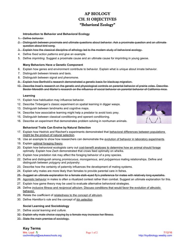 ap biology ch objectives behavioral ecology 51 objectives behavioral ecology