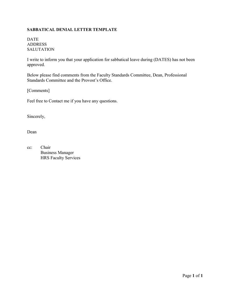 sabbatical leave application sample letter