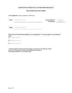 RUBENSTEIN PERENNIAL INTERNSHIP PROGRAM  RECOMMENDATION FORM