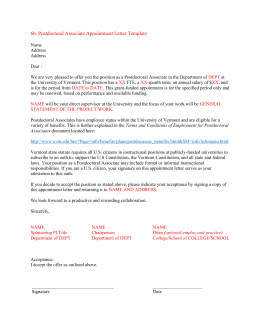 postdoctoral associate appointment letter template