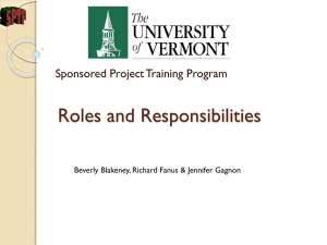 Roles and Responsibilities Sponsored Project Training Program