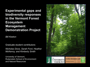 Experimental gaps and biodiversity responses in the Vermont Forest Ecosystem