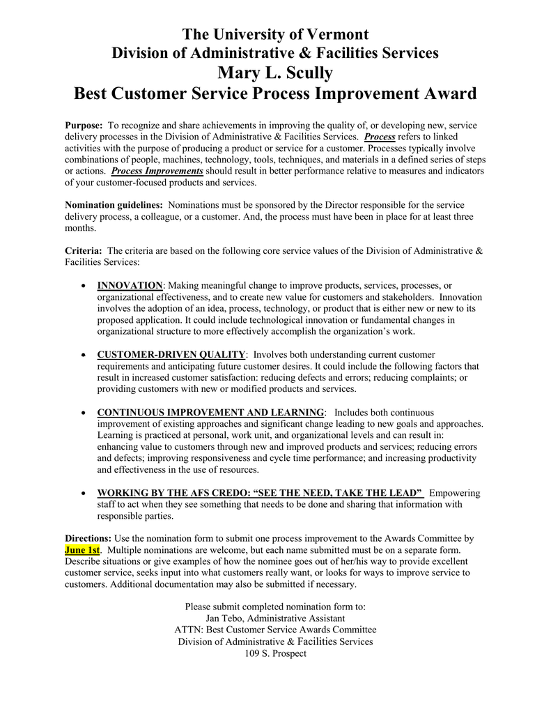 mary l scully best customer service process improvement award