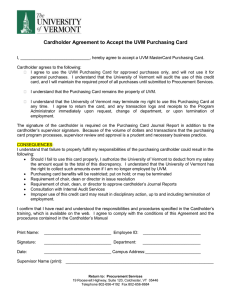 Cardholder Agreement to Accept the UVM Purchasing Card