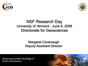 NSF Research Day Directorate for Geosciences Margaret Cavanaugh