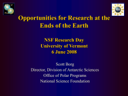 Opportunities for Research at the Ends of the Earth NSF Research Day