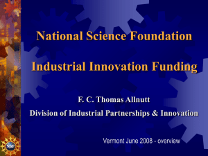 National Science Foundation Industrial Innovation Funding F. C. Thomas Allnutt
