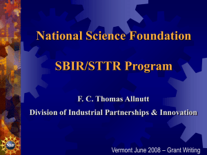 National Science Foundation SBIR/STTR Program F. C. Thomas Allnutt
