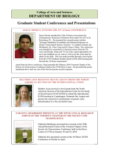 DEPARTMENT OF BIOLOGY Graduate Student Conferences and Presentations