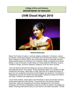 UVM Diwali Night 2010 DEPARTMENT OF BIOLOGY College of Arts and Sciences