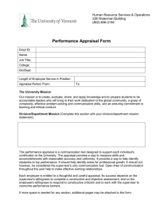 Performance Appraisal Form Human Resource Services & Operations 228 Waterman Building (802) 656-3150