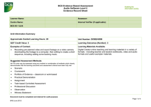 BCS Evidence Based Assessment Audio Software Level 2 Evidence Record Sheet
