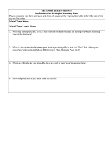 BEST/MTSS Summer Institute Implementation Strategies Summary Sheet