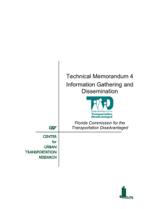 Technical Memorandum 4 Information Gathering and Dissemination Florida Commission for the