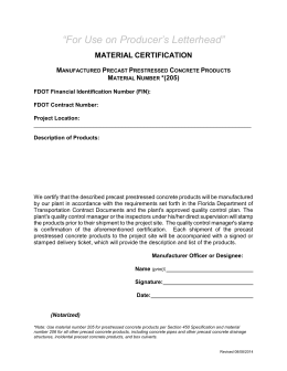 """For Use on Producer's Letterhead"" MATERIAL CERTIFICATION M"