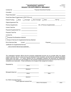 PROFESSIONAL SERVICES REQUEST FOR SUPPLEMENTAL AMENDMENT