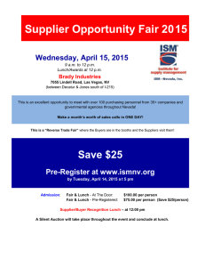Supplier Opportunity Fair 20 15 Wednesday, April 15, 2015