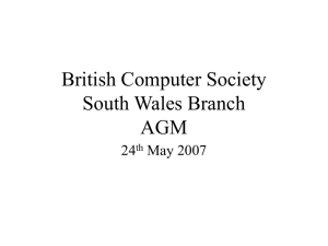 British Computer Society South Wales Branch AGM 24