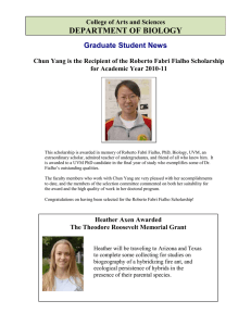 DEPARTMENT OF BIOLOGY Graduate Student News