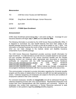 Memorandum  TO: UVM Non-Union Faculty and Staff Members