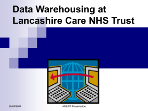 Data Warehousing at Lancashire Care NHS Trust 30/01/2007 ASSIST Presentation