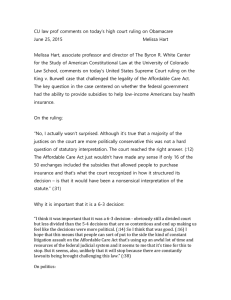 CU law prof comments on today's high court ruling on... June 25, 2015  Melissa Hart