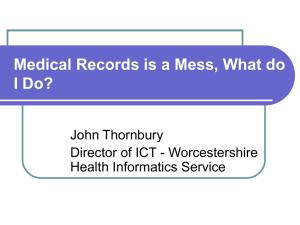 Medical Records is a Mess, What do I Do? John Thornbury