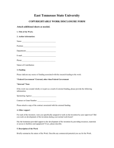 East Tennessee State University COPYRIGHTABLE WORK DISCLOSURE FORM