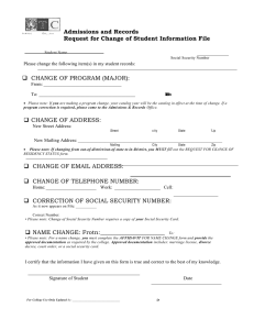 Admissions and Records Request for Change of Student Information File 