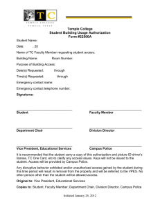 Temple College Student Building Usage Authorization Form #22500A