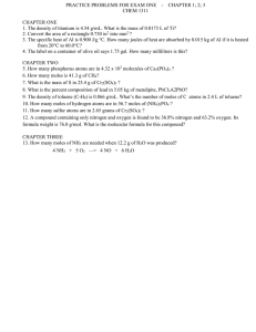 PRACTICE PROBLEMS FOR EXAM ONE    -  ... CHEM 1311  CHAPTER ONE