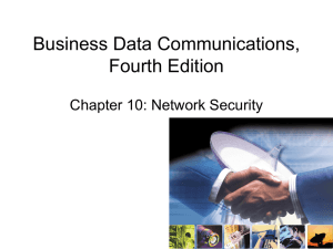 Business Data Communications, Fourth Edition Chapter 10: Network Security
