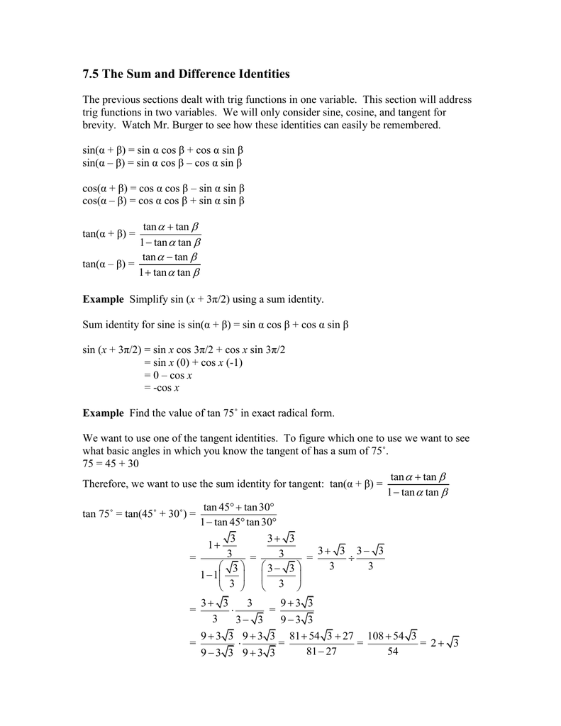 7.5 The Sum and Difference Identities