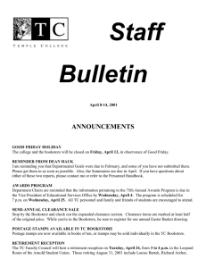 Staff Bulletin ANNOUNCEMENTS