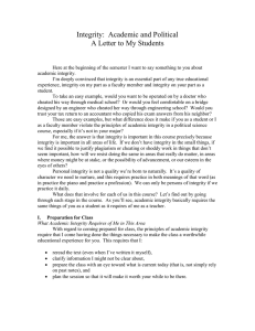 Integrity:  Academic and Political A Letter to My Students