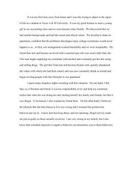 Essay Layout Example It Was My First Time Away From Home And I Of Life As Topics For Informative Essay also Legalization Of Marijuana Pros And Cons Essay Thomas Jefferson University Department Of Housing And Residence Life  American Government Essay