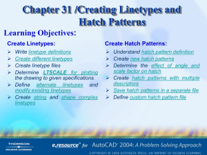 Chapter 31 /Creating Linetypes and Hatch Patterns Learning Objectives: Create Linetypes: