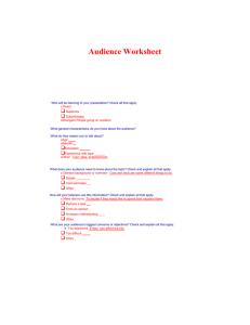 Audience Worksheet   Audience