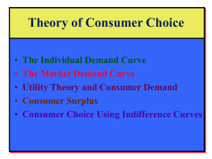 Theory of Consumer Choice The Individual Demand Curve The Market Demand Curve