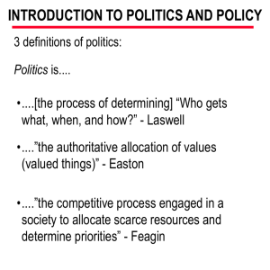 INTRODUCTION TO POLITICS AND POLICY