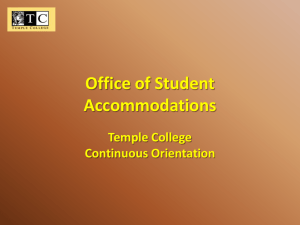Office of Student Accommodations Temple College Continuous Orientation