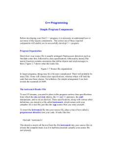 C++ Programming Simple Program Components