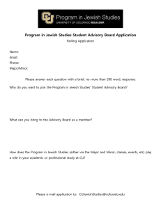 Program in Jewish Studies Student Advisory Board Application